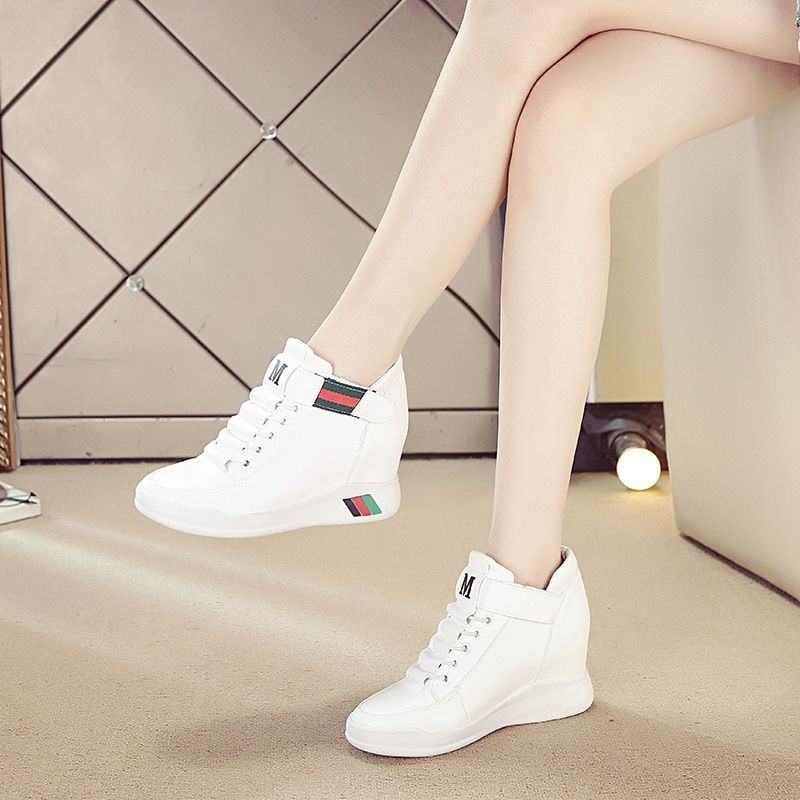 Summer season Augustus womens shoes high top casual single shoes with thick soles and magic slope heel small white shoes