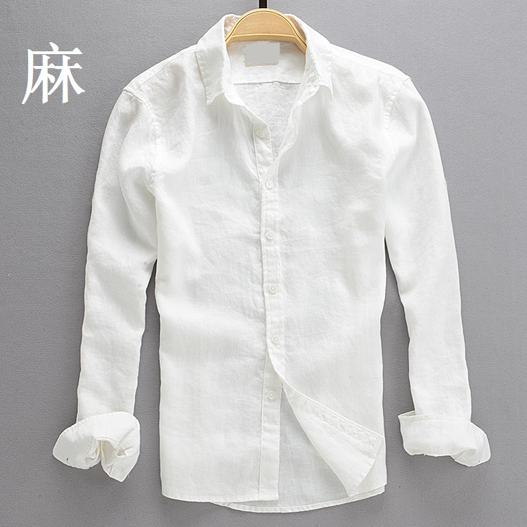 Spring and summer mens casual Linen White Shirt Mens youth large slim Top Long Sleeve Cotton Linen thin shirt