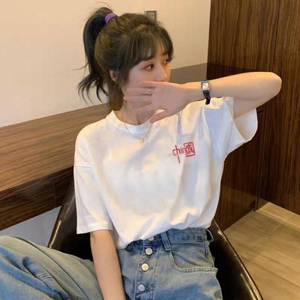 835#官方实价刺绣国潮t恤女短袖夏季2021新款白色纯棉体恤ins潮上
