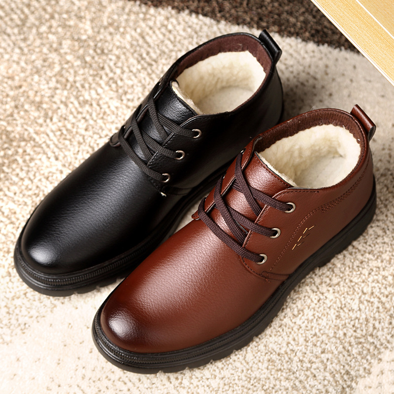 Winter new plush cotton shoes mens business dress high top thermal leather shoes middle aged and old dads shoes