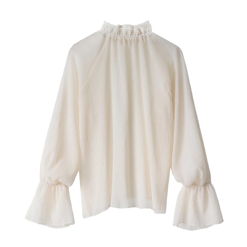 很仙的上衣百搭洋气女装2019款春温柔复古荷叶袖内搭打底网纱小衫