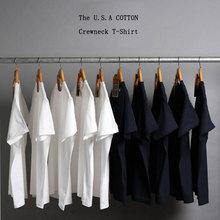日本纯棉纯色短袖打底衫T恤白色情侣男女体纯黑内搭体恤纯白t