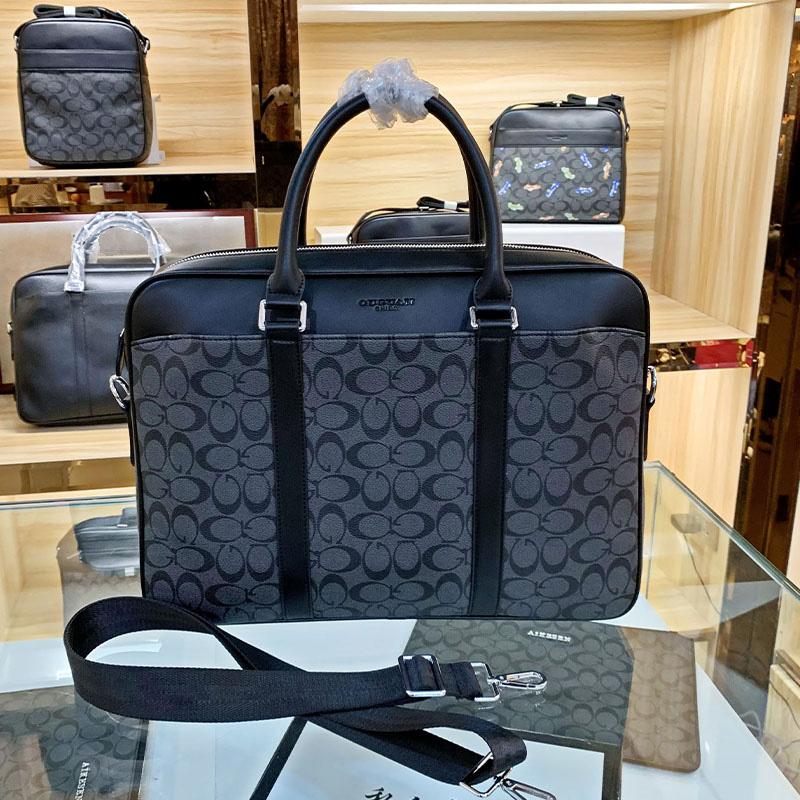 新款欧美男士手提包商务时尚真皮潮牌公文包男款大容量电脑包差旅