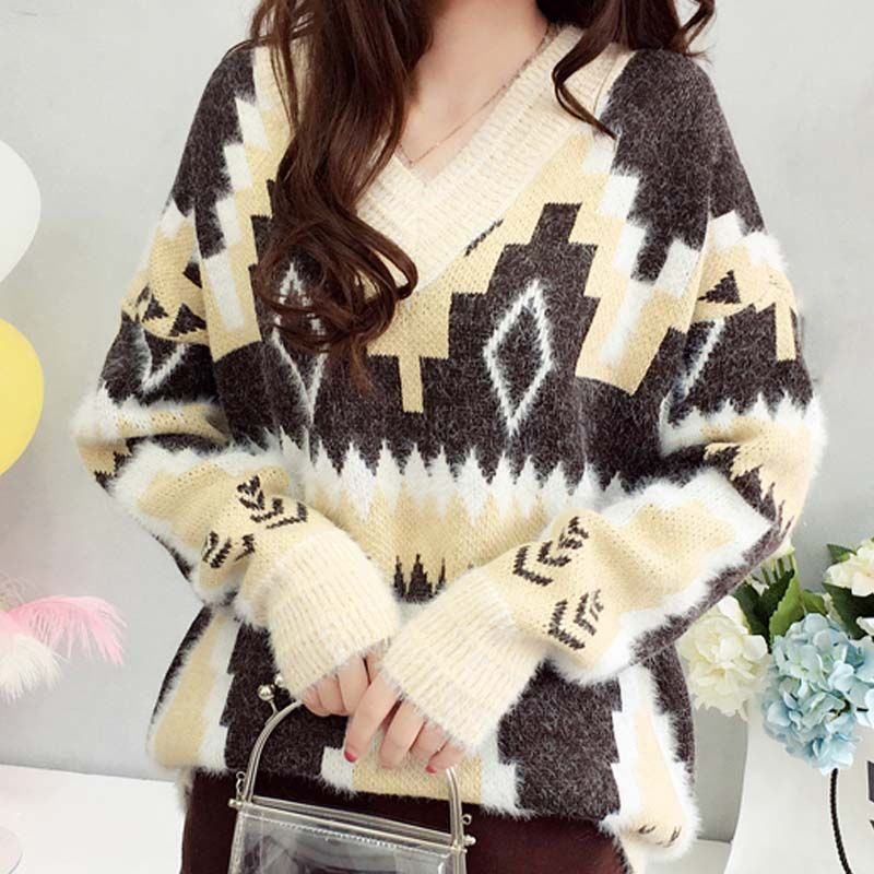 Sweater Mohair loose lazy wind slightly fat geometric pattern autumn and winter print color blocking knitted waist closing waist girdle bottomed shirt