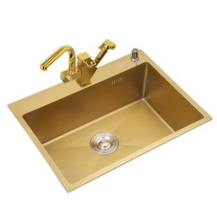 納米金色304不鏽鋼水槽小號廚房台下洗菜盆大單槽手工家用洗碗池