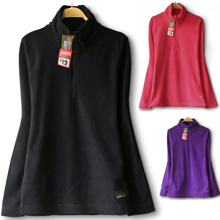 Womens thin fleece sweater fleece jacket sports Pullover fleece sweater extra large foreign trade zipper half high collar