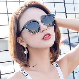 复古圆形彩膜反光太阳镜女个性圆脸半框墨镜男眼镜潮太阳gm镜牌v图片