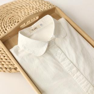 新款 白色衬衫 宽松百搭娃娃领纯棉短袖 2021春季 女长袖 学生学院衬衣