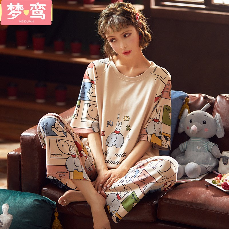 Spring and autumn short sleeved trousers can wear all cotton pajamas, womens net red burst suit, summer lovely home clothes