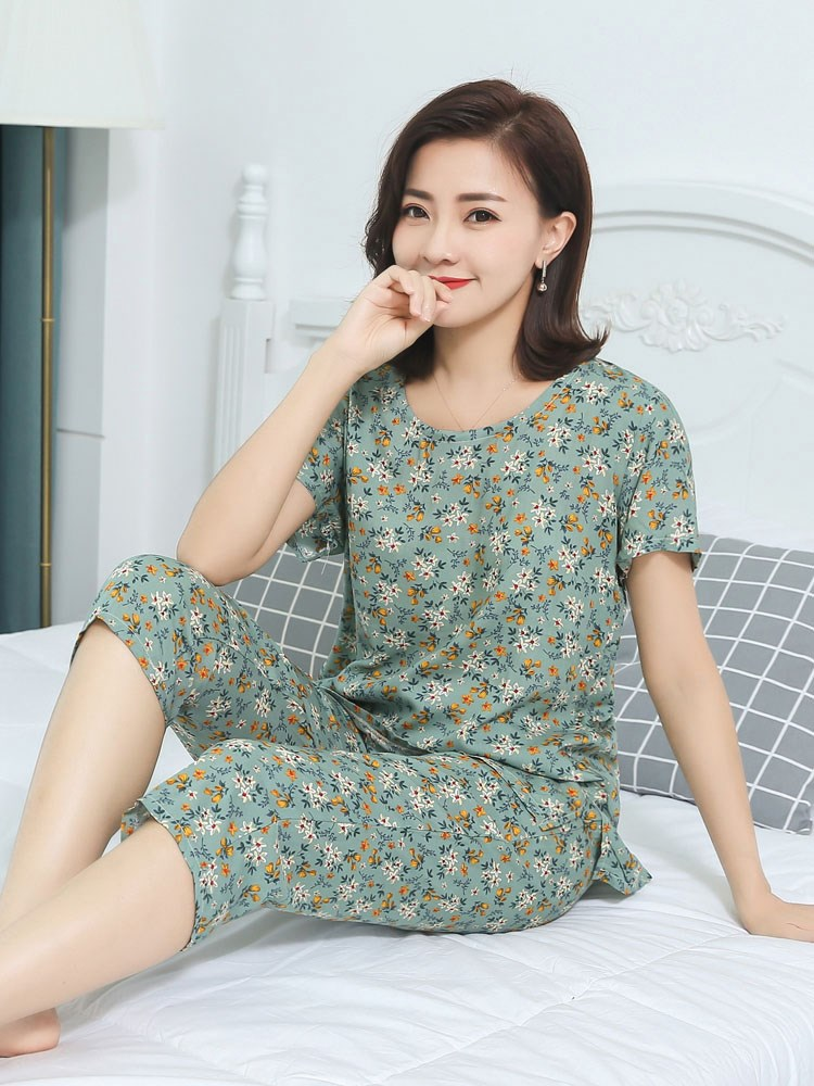 Pajamas women summer pure cotton silk short sleeved Shorts Set sweet loose Korean fresh middle-aged womens thin home clothes