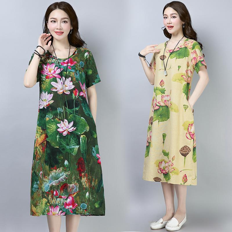棉麻長裙女2018夏季民族風大碼寬鬆顯瘦復古印花短袖荷花連衣裙