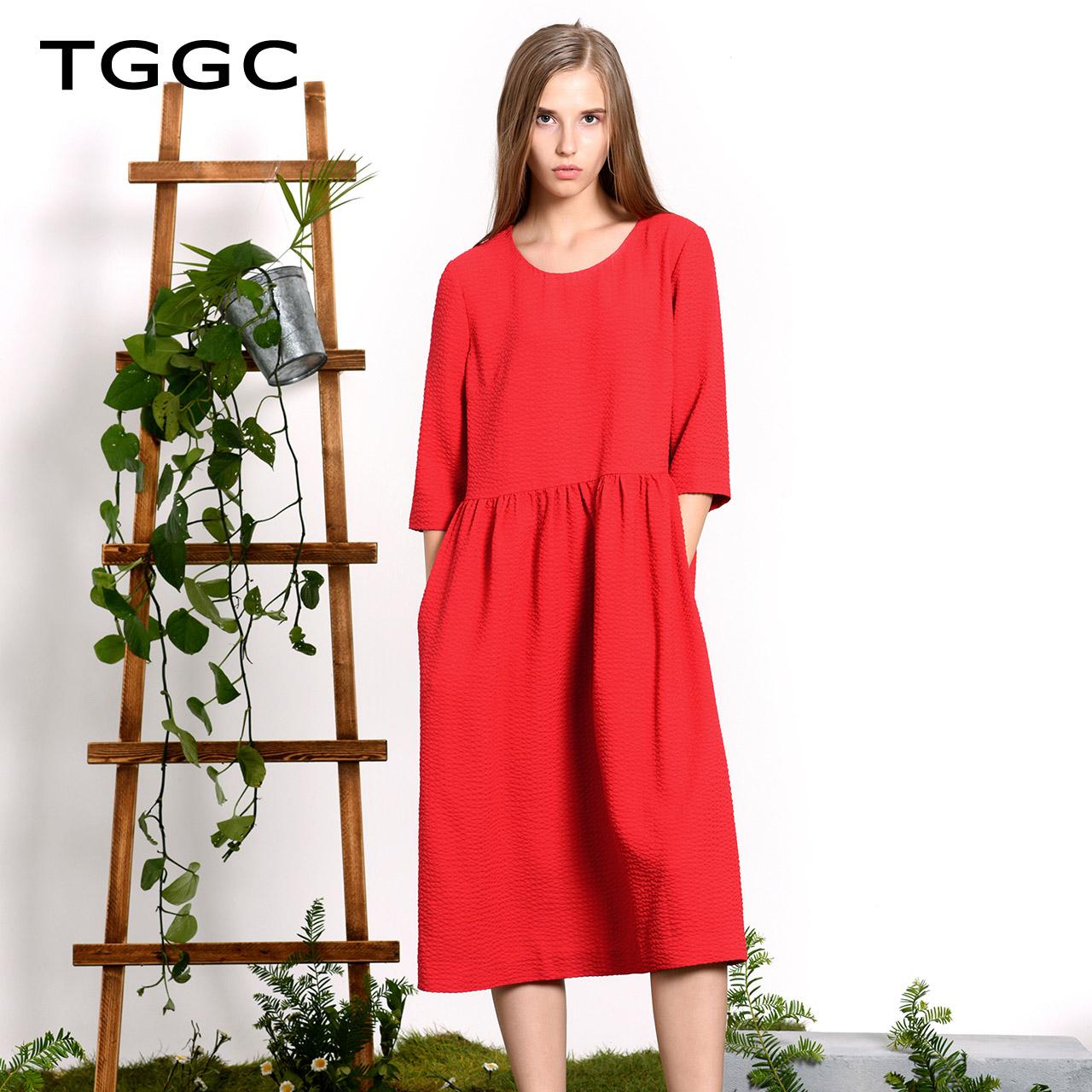 TGGC 2018年春装新款 通勤宽松中长裙七分袖褶皱高腰连衣裙F21882
