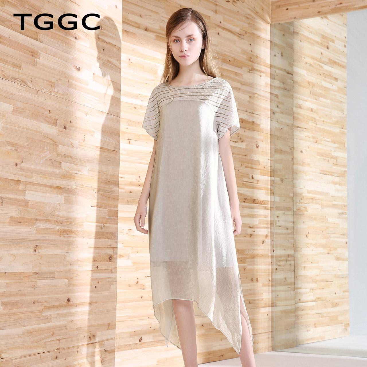 台绣2018夏装新款拼接宽松短袖连衣裙女显瘦中长款裙子气质F22623