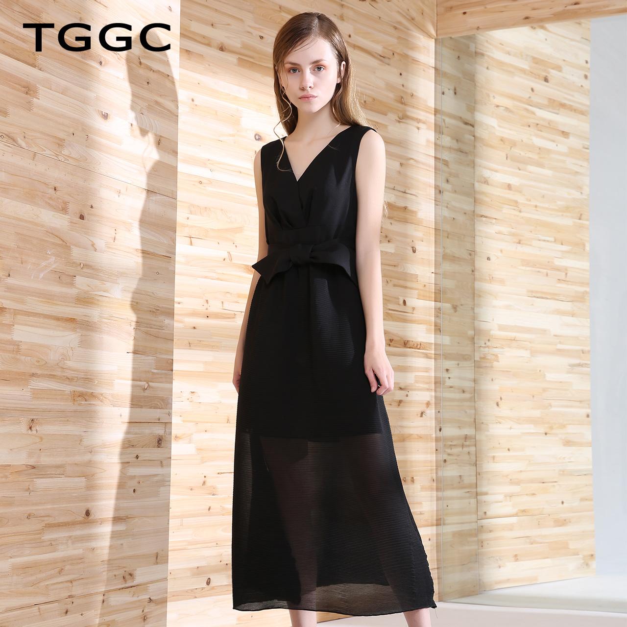 台绣夏装女装2018新款连衣裙女修身显瘦裙子无袖高腰长裙 F22566A