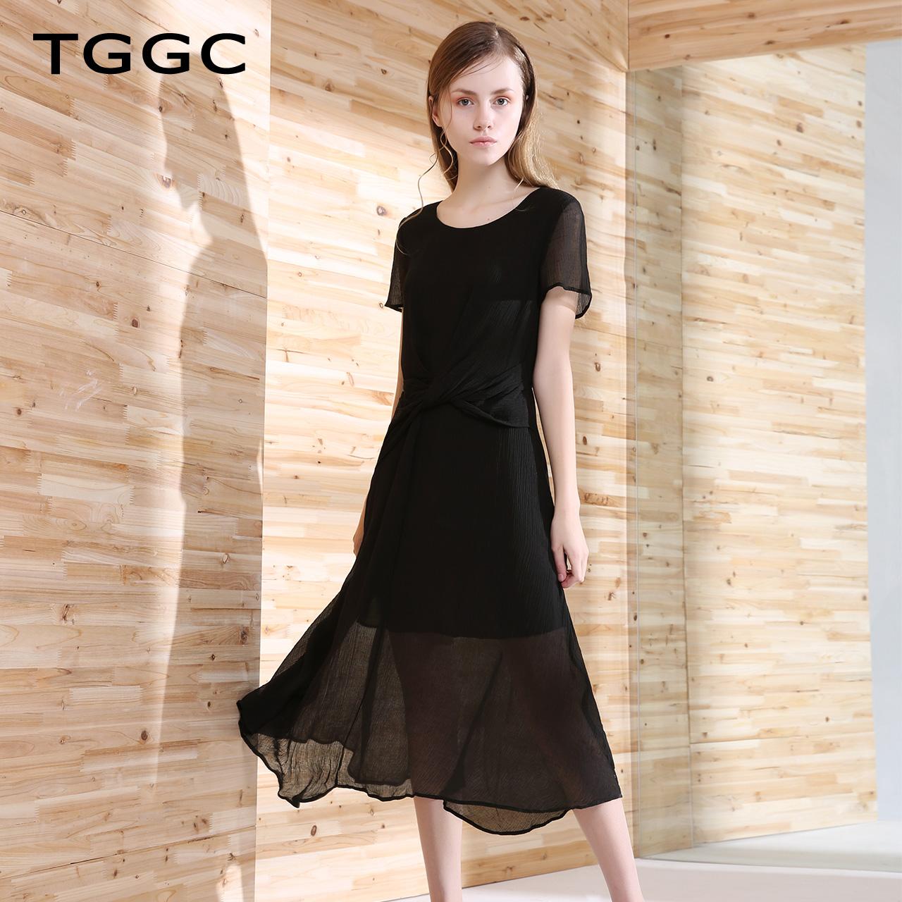 台绣 2018年夏装新款 纯色女装显瘦女长款气质雪纺连衣裙F22557A