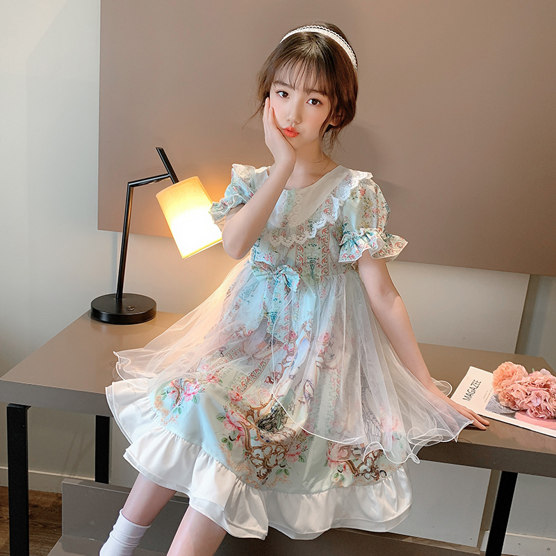 Girls Summer Lolita Princess Dress 2020 new Korean super foreign childrens summer dress net red girl dress
