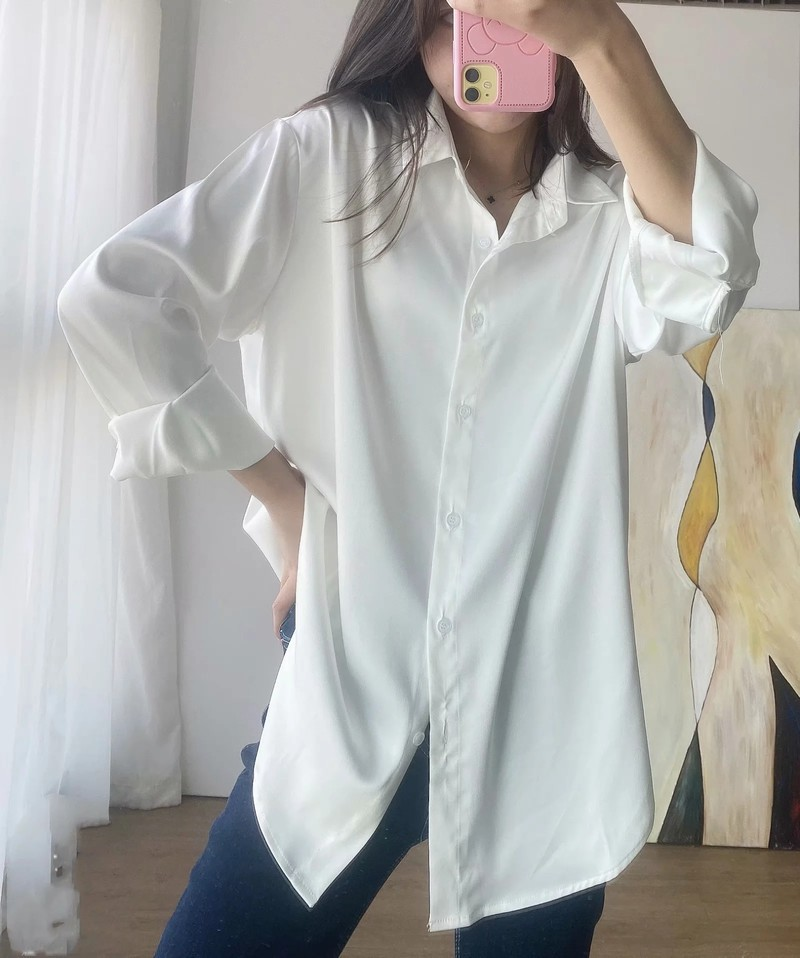 Shirt women design sense small medium length new temperament drape top silk satin loose shirt