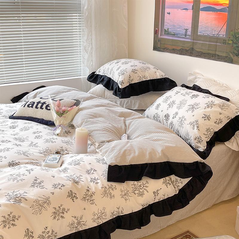 韩国ins同款黑白素描撞色花边床单