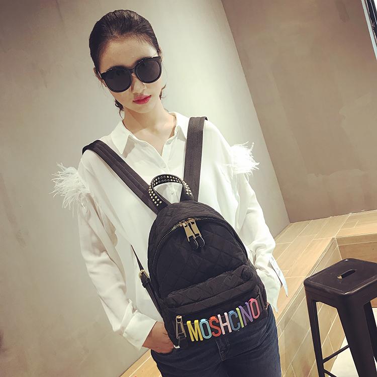 菱格绣线双肩包女2018新款韩版彩色字母双肩背包时尚潮流个性包包