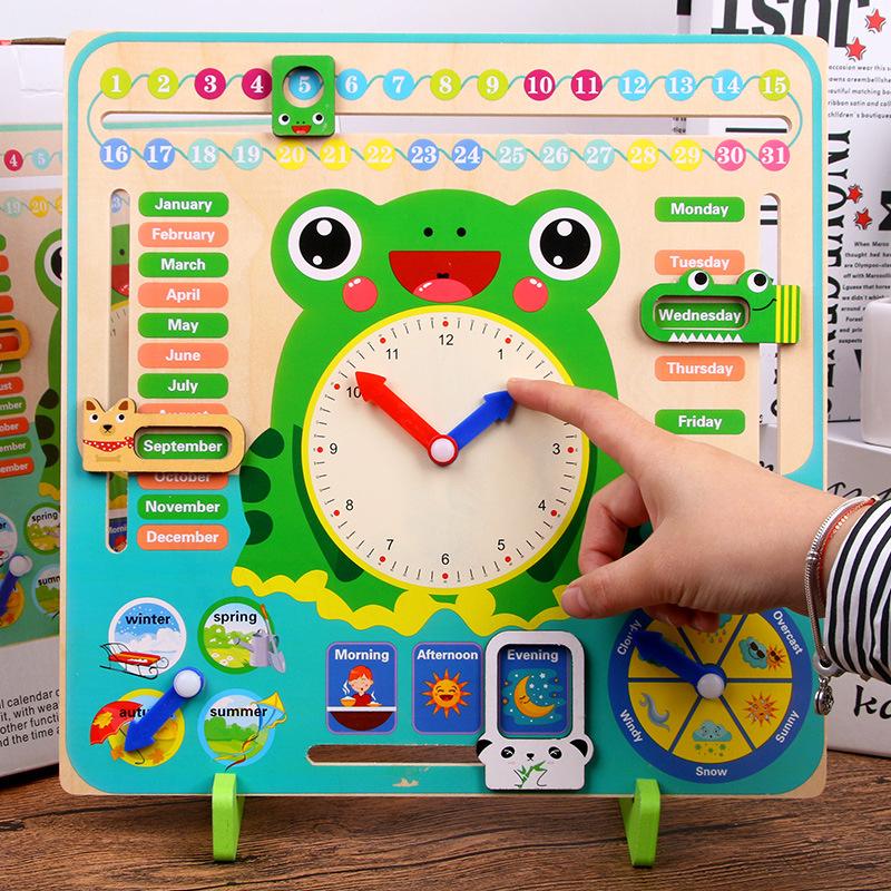 儿童时间认知板数字时钟日历教具 幼儿园2-3-6岁蒙氏早教益智玩具