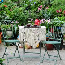 田园复古铁艺阳台桌椅套件户外庭院家具文艺休闲桌椅组合折叠桌椅