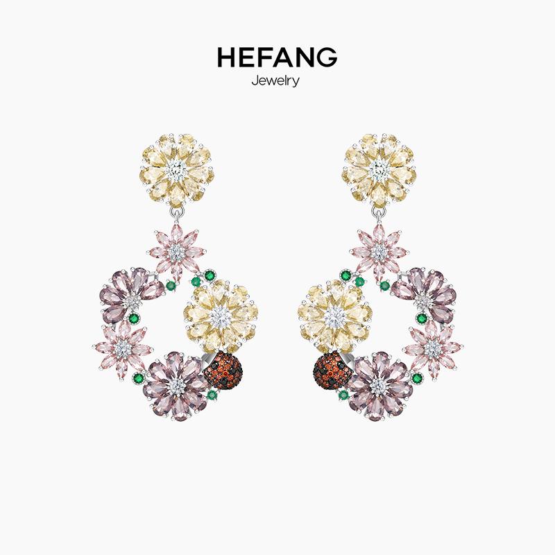 HEFANG Jewelry/何方珠宝花簇耳环 纯银女森系超仙气质耳坠耳饰品
