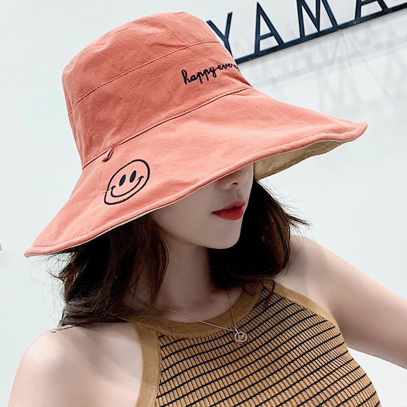韩版新款刺绣字母渔夫帽女春夏季可折叠双面戴笑脸遮阳帽防晒帽潮