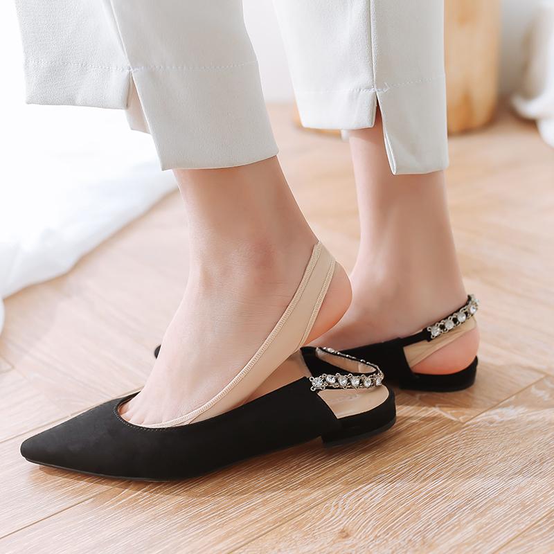 10-20新券船袜女纯棉浅口隐形硅胶防滑薄款冰丝夏天高跟鞋袜子女肉色短丝袜