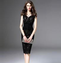 2020春夏新款淑女气质无袖百搭背心裙修身蕾丝连衣裙女一步包臀裙