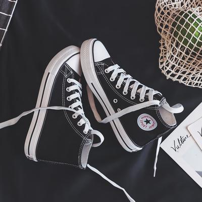2018新款高帮帆布女鞋2019春季学生百搭韩版布鞋网红休闲小白板鞋