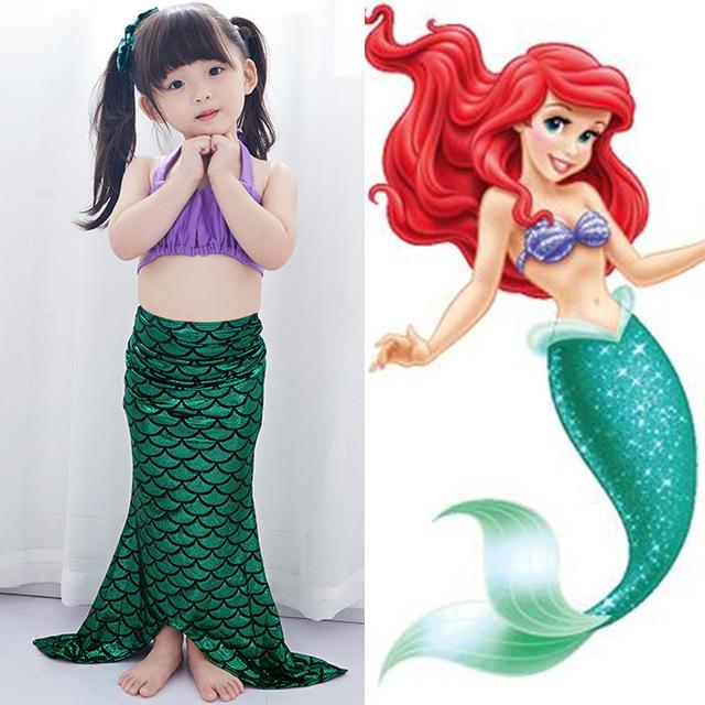 女童美人鱼泳衣公主宝宝可爱比基尼尾巴女生游泳装女孩分体泳衣