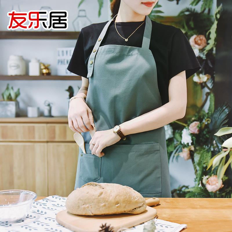 家用厨房做饭围裙罩衣定制画画时尚新款日式防水厨师工作服男女