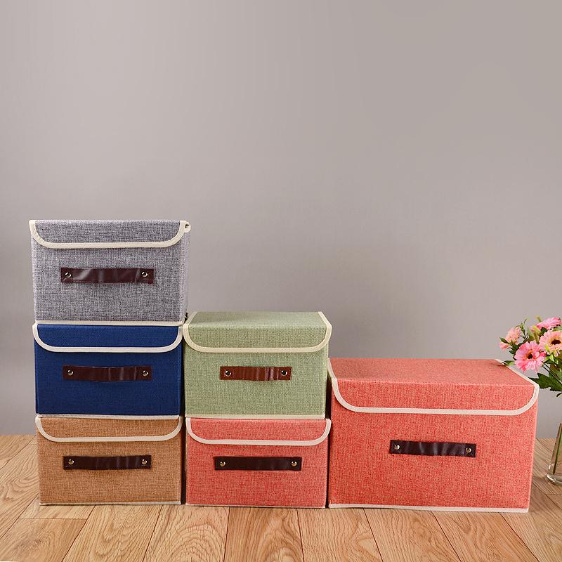 棉麻有盖收纳箱大号折叠储物箱衣柜布艺收纳盒内衣衣物整理箱包邮