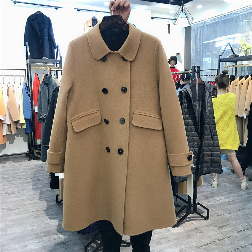 Double faced wool coat womens middle long 2020 new double row button small double faced wool coat fashion
