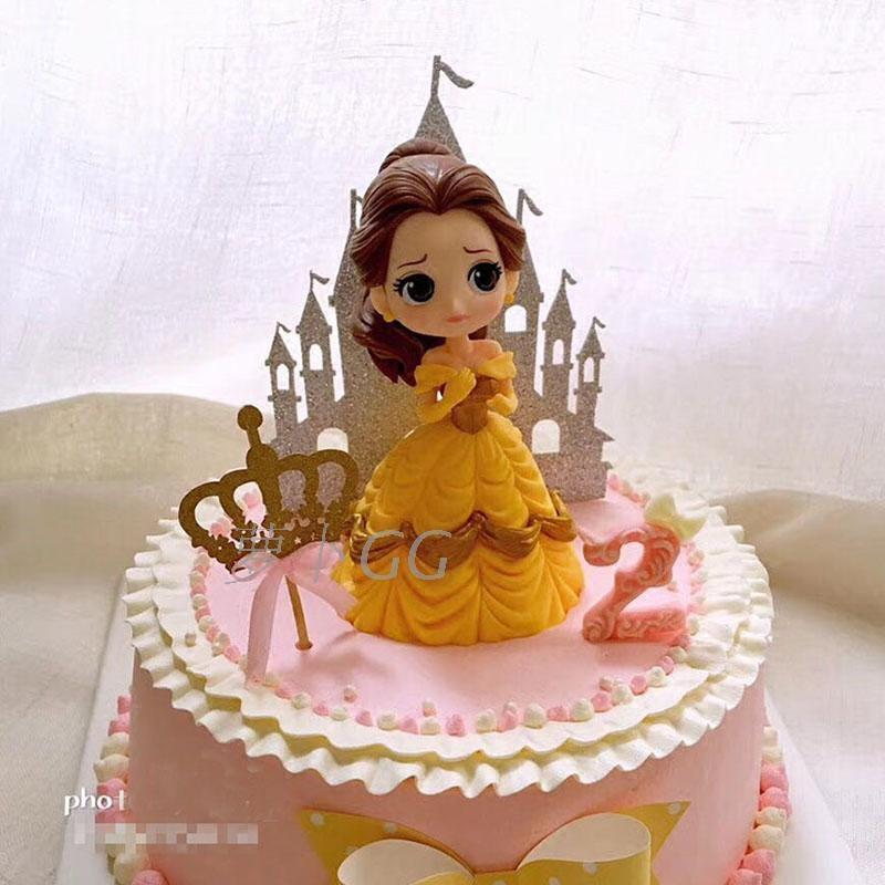 公主情景蛋糕装饰摆件 贝儿公主装饰美女与野兽 卡通蛋糕装扮手办