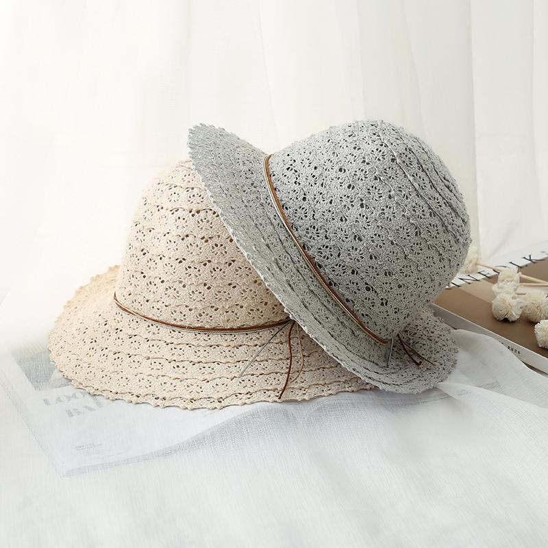 韩版夏天盆帽渔夫帽柔软可折叠女镂空蕾丝森系编织草帽圆顶遮阳帽19.90元包邮