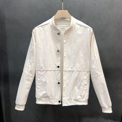 2020春秋季新款男夹克潮流修身拼接纯白色圆领休闲男青年外套男装