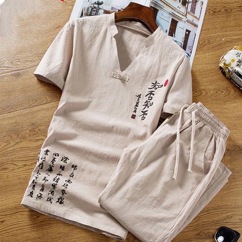 春秋季短袖套装男休闲男中国风刺绣