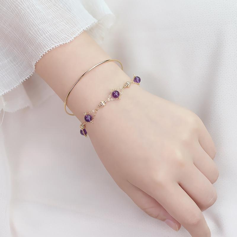 【纤纤】天然乌拉圭紫水晶手链女 小众设计冷淡风助学业生日礼物128.00元包邮