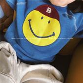 男女童休闲卫衣新款日系中大童笑脸牛仔蓝做旧上衣宝宝洋气套头衫