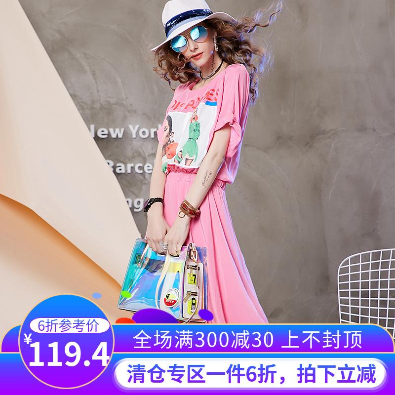 (用10元券)欧洲站2019夏季新款洋气人物印花松紧腰短袖宽松连衣裙女