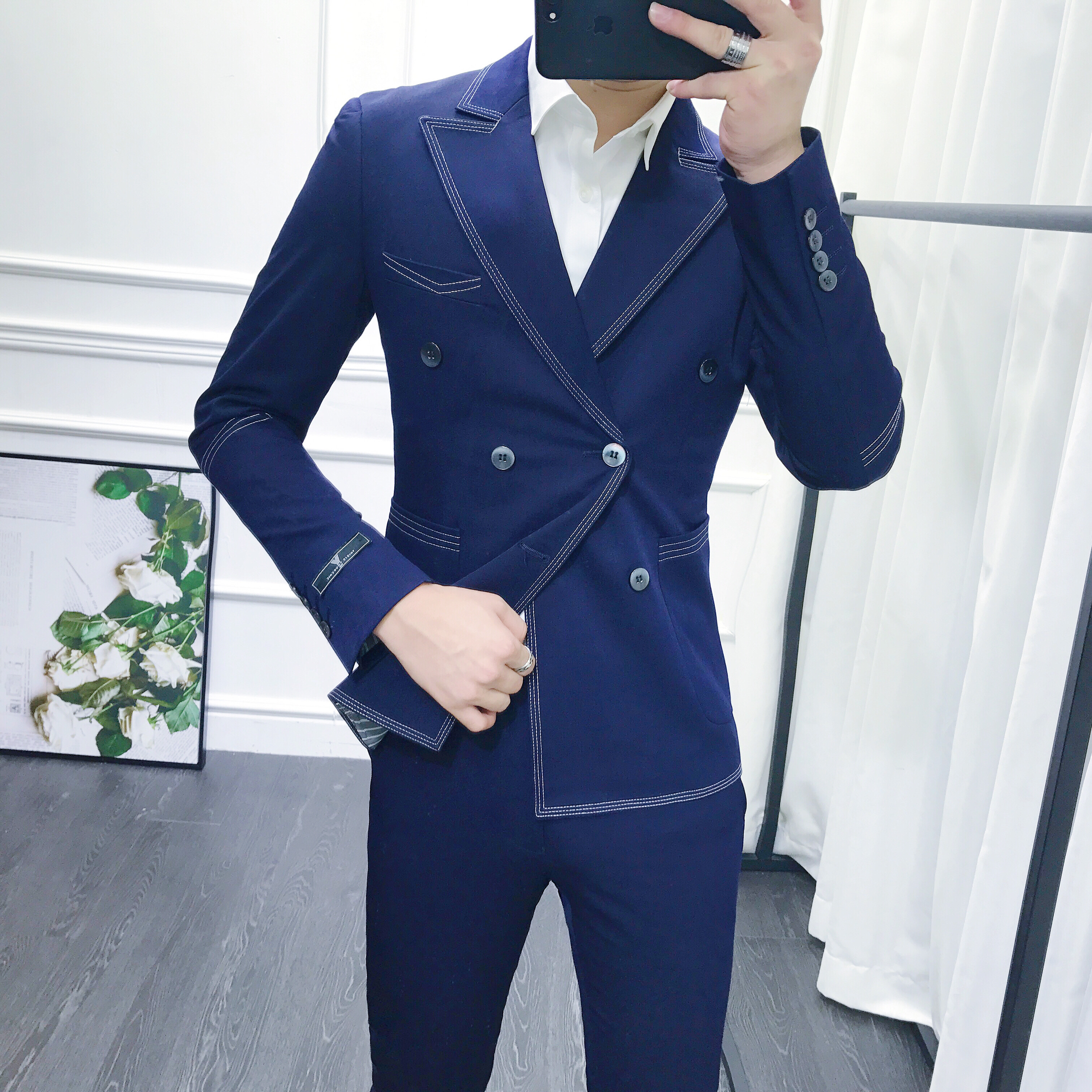 Korean slim casual mens open line double breasted suit fashion hairstylist personality two piece suit