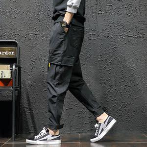 2018秋装新款男士日系时尚工装休闲裤魔术贴束脚裤宽松长裤哈伦裤