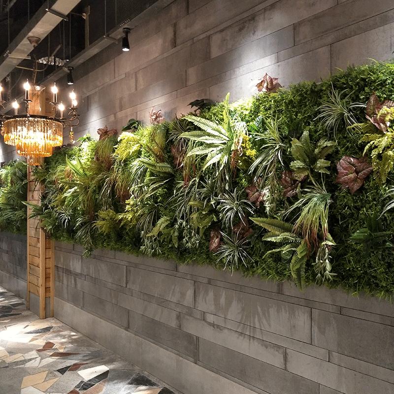 仿真植物墙背景绿色假草坪草皮地毯阳台室内塑料花墙绿植墙面装饰