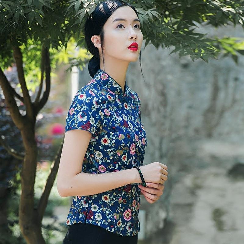 布符原创2019夏季中式复古盘扣上衣女改良唐装中国风短袖旗袍上衣
