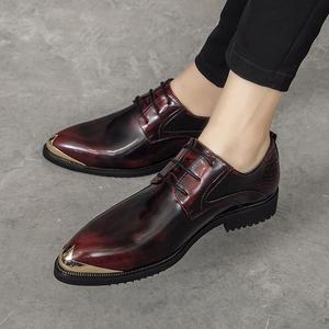 香港夏夏新款潮流内增高透气真皮尖头皮鞋男英伦发型师皮鞋男鞋子