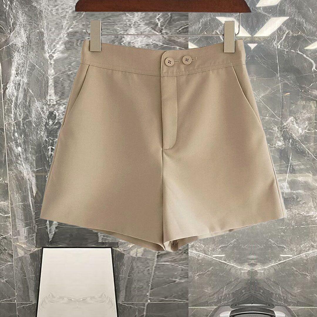 品质巨赞!版型好到爆!杏色后背钉扣修身显腿长高腰短裤休闲