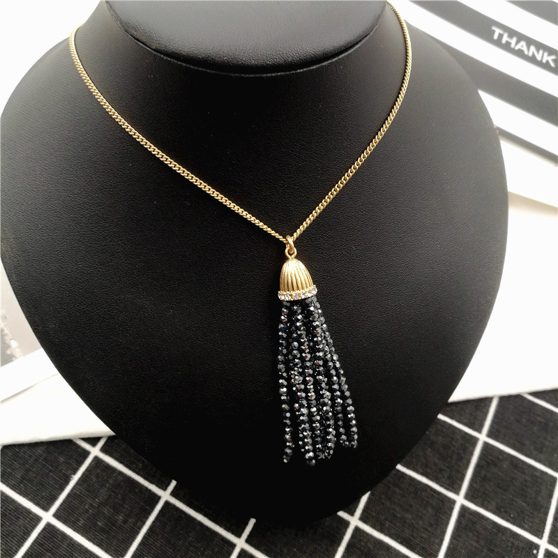 Simple European and American tassel long necklaces