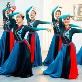 蒙古舞蹈演出服少数民族服装夏现代民族风古典舞蒙族舞蹈服女鸿雁图片