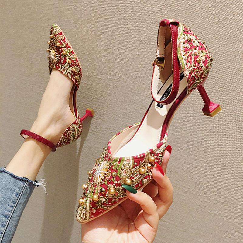 新娘秀禾中式女2020年新款高跟鞋